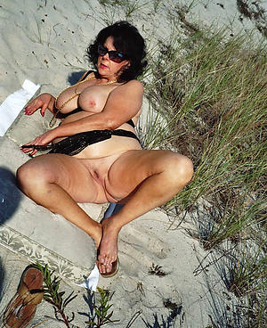 busty granny at beach